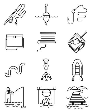 pier: Fishing hobby line art thin and simply black and white icons set. Collection of minimalistic signs with fisherman with rod, tacle, fish, worm, landscape with lake and pier, net, bobbin with reel, inflatable boat with oars, hook and float illustration