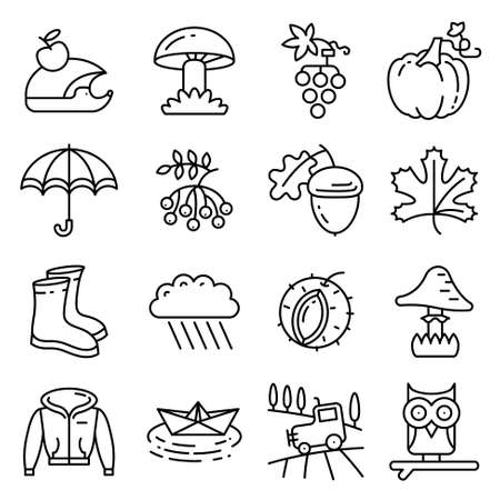 Fall season line art thin and simply icons set. Web pictograms with autumn and crop objects as mushrooms, rainy cloud, paper boat in a pool, field landscape with tractor, leaves, rowan berries, grape, chestnut, acorn, gumboots, owl and hedgehog, pumpkin
