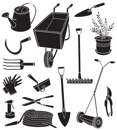 gardening hose: Black and white vector illustration with agriculture objects. Silhouettes of gardening tools, hose, watering can, forks, mower, pruning shears, scissors, a potted plant, rake, gloves, hammer, hoe isolated on white background