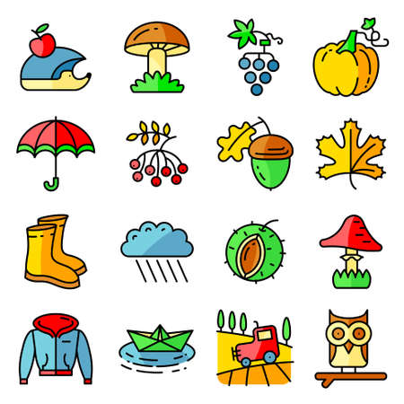 gumboots: Fall season colorful thin and simply icons set. Web pictograms with autumn and crop objects as mushrooms, rainy cloud, paper boat in a pool, field landscape with tractor, leaves, rowan berries, grape, chestnut, acorn, gumboots, owl and hedgehog, pumpkin