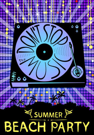 spinning: Retro turntable silhouette. Vector isolated illustration background with vinyl records. Lettering hand-drawn composition Dont stop the music. Design for beach party placard
