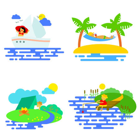 Summer activity icons set in flat style with fishing, yachting, relaxing and camping people