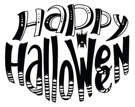 floral objects: Happy Halloween lettering composition. Floral greetion card with holiday objects and pattern with hand-drawing letters. Design element for poster and backgrounds with bat