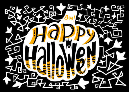 floral objects: Happy Halloween lettering composition in pumpkin silhouette. Floral greetion card with holiday objects and pattern with leaves and curves. Design element for poster and backgrounds with bat