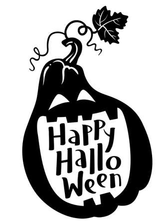 calligraphical: Happy Halloween hand-drawing lettering composition with pumpkin silhouette. Cute black and white design element for t-shirt, greeting card, poster in minimalistic style
