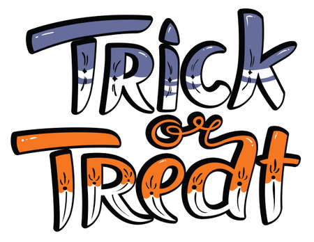 treat: Trick or treat Halloween lettering composition. Hand-drawing cute letters. Vector illustration with isolated unique inscription. Design element