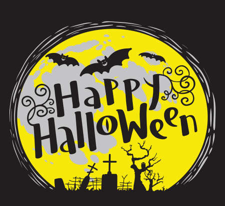 Happy Halloween lettering coposition with cemetery and bats silhouette. Celebration october vector illustration with moon. Design element for t-shirt, poster, greeting cards