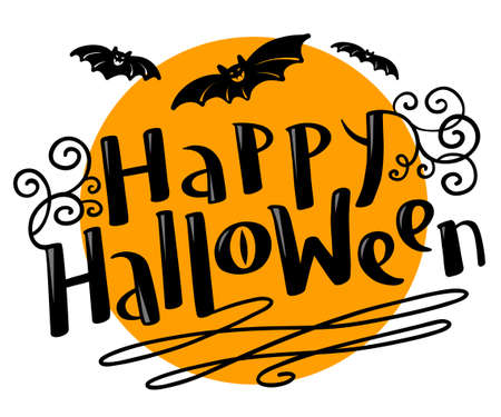 Happy Halloween hand-drawing lettering coposition with bats silhouette. Celebration october vector illustration with moon. Design element for t-shirt, poster, greeting cards