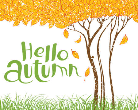 Hello autumn hand-drawn lettering composition. Fall season vector illustration with grunge tree with faling leaves and green grass. Design element for poster, card and placard