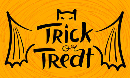 treat: Trick or treat Halloween lettering composition. Hand-drawing cute letters. Vector illustration with isolated unique inscription and bat shape. Black design element on yellow background