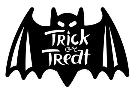 treat: Trick or treat Halloween lettering composition. Hand-drawing cute letters. Vector illustration with isolated unique inscription and bat shape. Design element Illustration
