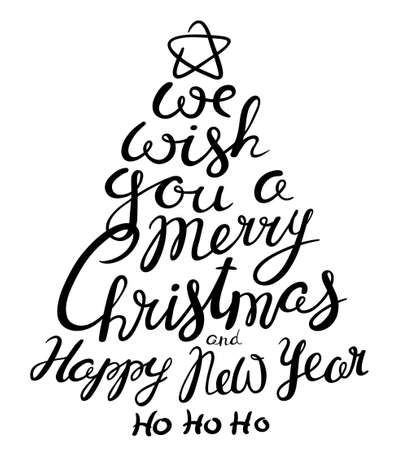 ho: Christmas and New Year lettering calligraphic hand drawn composition as pine tree silhouette. Design element for greeting cards, posters, t-shirts and backgrounds