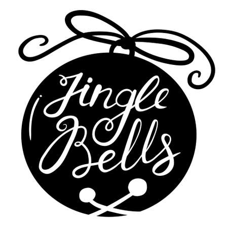 hand bells: Jingle bells calligraphic hand drawn lettering. Christmas and New Year background with silhouette of pine tree branches and bell with bow. Design element for seasonal posters and greeting cards