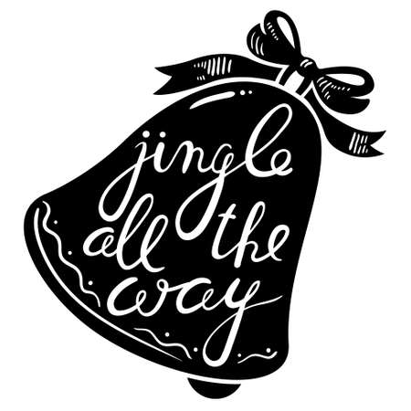 jingle bell: Jingle bells calligraphic hand drawn lettering. Christmas and New Year background with silhouette of pine tree branches and bell with bow. Design element for seasonal posters and greeting cards