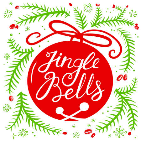 jingle bells: Jingle all the way calligraphic hand drawn lettering. Christmas and New Year background with silhouette of pine tree branches and jingle bells with bow. Design element for seasonal posters and greeting cards