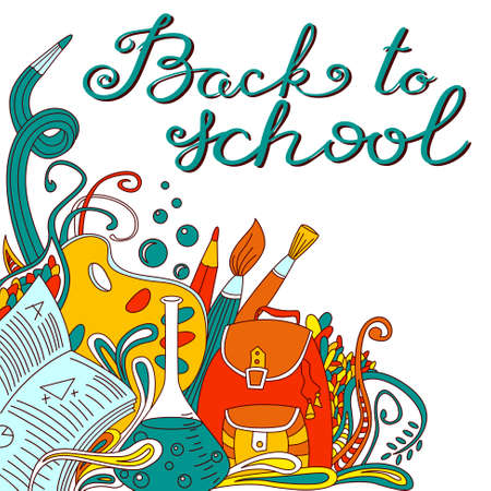 Back to school hand drawing calligraphy lettering. Educational background with shool bag, pensil, pen, chemistry flask, brushes and doodle elements in line art style Illustration