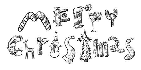 suck: Merry Christmas hand drawing lettering. The letters silhouettes are drawn in the form of the Christmas objects with decoration balls, gifts, cane candies, deer, holly, suck, pine tree, candy, cane. Cute design element for winter seasonal poster, card, bac