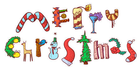 retro christmas: Merry Christmas hand drawing lettering. The letters silhouettes are drawn in the form of the Christmas objects with decoration balls, gifts, cane candies, deer, holly, suck, pine tree, candy, cane. Cute design element for winter seasonal poster, card, bac