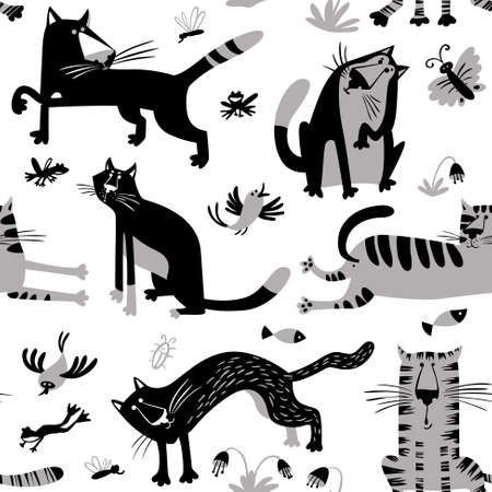 Flat seamless pattern with funny cats. Vector background in children's minimalistic style with floral design elements.fish, butterfly, birds, frogs and insects. Black, grey and white colors
