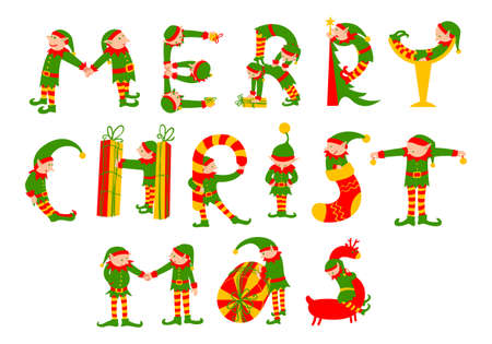 Merry Christmas hand tekenen vector letters. De letters silhouetten zijn getekend in de vorm van de elfen Kerstmis met klokken, geschenken, riet snoepjes, herten, cocktailglas. Leuk ontwerp element voor de winter seizoensgebonden achtergronden, posters en kaarten