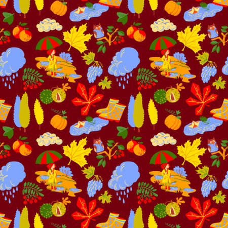objects paper: Red hair girl with umbrella, paper boat in the puddle, rainy cloud, owl on rowan branch, pumpkin, colorful autumn  leaves with chestnuts seamless pattern. Vector background with fall season nature objects.