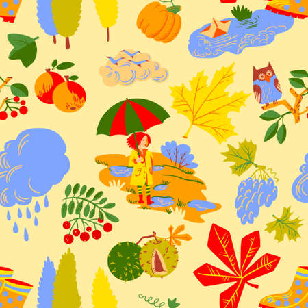 Red hair girl with umbrella, paper boat in the puddle, rainy cloud, owl on rowan branch, pumpkin, colorful autumn  leaves with chestnuts seamless pattern. Vector background with fall season nature objects.