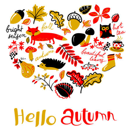 Heart silhouette from fall season nature objects. Vector greeting card with fox, owl,  hedgehog, mushroom, rowan, acorn, grape, leaf, tea cup.  Background with Hello autumn hand drawn text Illustration