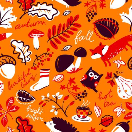 Woodland wild animals and autumn season nature plants seamless pattern. Fall vector background with fox, owl, hedgehog, mushroom, rowan, acorn, grape, leaf, tea cup