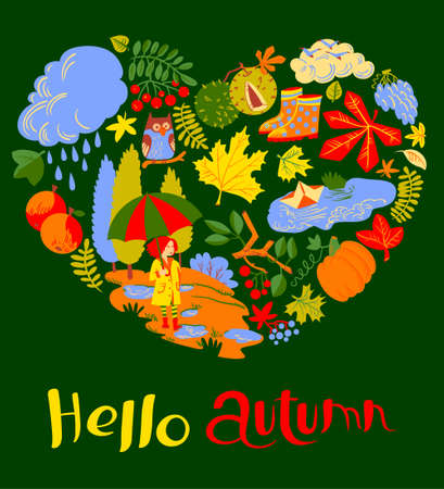 objects paper: Heart silhouette from fall season nature objects. Vector greeting card with girl with umbrella, paper boat in the puddle, pumpkin, colorful  leaves with chestnut and owl on branch.  Background with Hello autumn hand drawn text