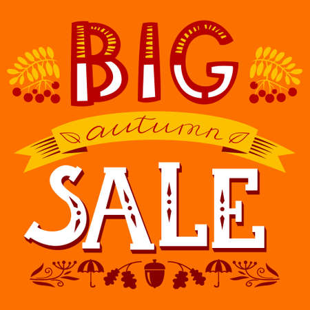 autumn season: Big autumn sale lettering composition. Design element for fall season shopping with rowan berry, leaves, acorn silhouette, umbrella