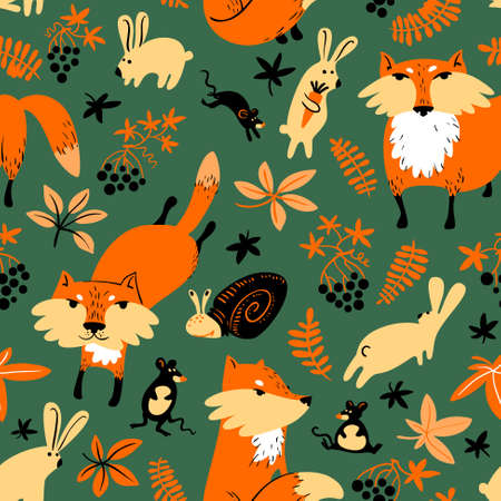 seson: Vector autumn seamless pattern with animals and florals in childrens style. Fall season illustration with fox, rabbit, mouse, slime,  grape, leaves