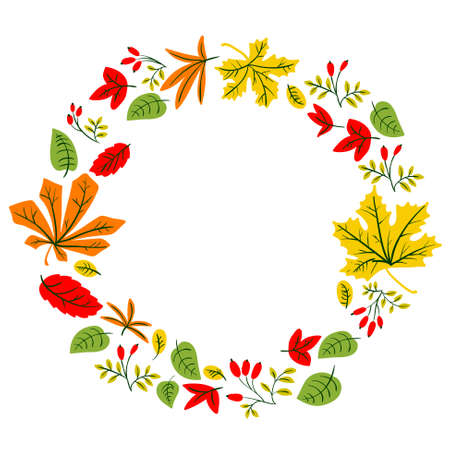 Fall season wreath. Vector design with doodle colorful leaves and berries of wild rose . Element for cards, posters and seasonal backgrounds. Isolated on white