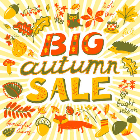 Big autumn sale lettering. Fall season background with plants - acorn, marple and oak leaf, animals - owl, hedgehog, fox, crop fruits - grape, mushroom, pumpkin. Design for seasonal posters and cards Illustration