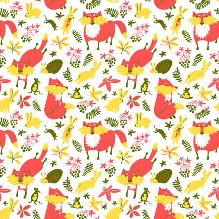 autumn season: Woodland wild animals and autumn season nature plants seamless pattern. Fall vector background with fox, rabbit, mouse, snail, leaves and berries in childish cartoon style.