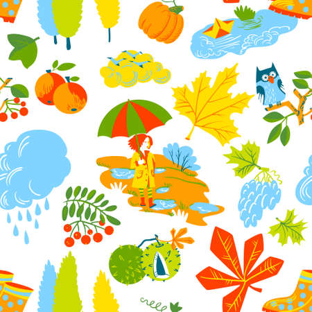 red hair girl: Red hair girl with umbrella, paper boat in the puddle, rainy cloud, owl on rowan branch, pumpkin, colorful autumn  leaves with chestnuts seamless pattern. Vector background with fall season nature objects.