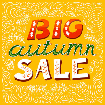 autumn season: Big autumn sale lettering. Fall season background with leaves. Design elements for posters, cards and labels Illustration