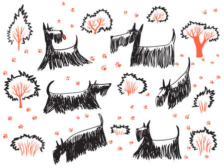 scottie: Doodle hand drawn set with skotch terriers dogs, their footprints and trees and bushes. ?ute pets walk out
