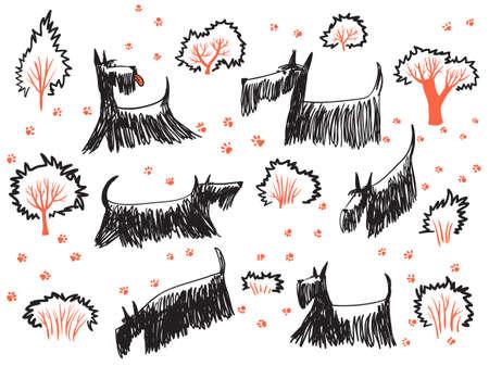 huellas de perro: mano doodle conjunto con terriers Skotch perros, sus huellas y los árboles y arbustos. ? ute mascotas salen Vectores