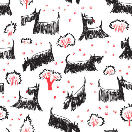 scottie: Cute doodle seamless pattern with Scotch Terrier dog breed. Outdoor pets with footprints and trees and bushes Illustration