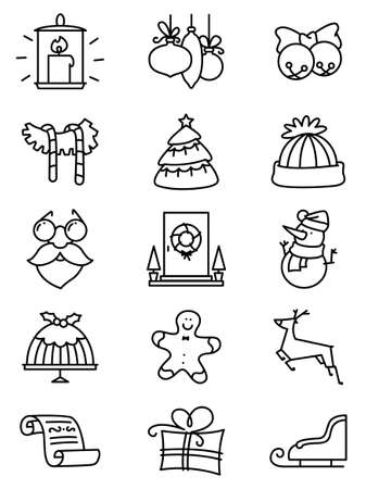 winter colors: Set with thin simply Christmas icons set. Minimalistic design in  black and white colors. Winter holidays decorations and characters Illustration