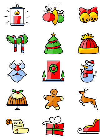 winter colors: Set with thin simply Christmas icons set. Minimalistic design in  bright colors. Winter holidays decorations and characters