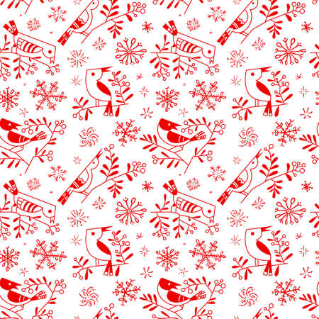 Winter seamless pattern with cute doodle birds on rowan branches with snowflakes. Design line art element for Christmas wrapping paper, cards, backgrounds and posters Illustration