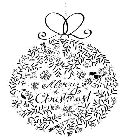 Silhouette of decoration ball with birds and plants in black and white doodle style. Merry Christmas hand drawn calligraphic lettering. Design element for seasonal cards, stickers and posters