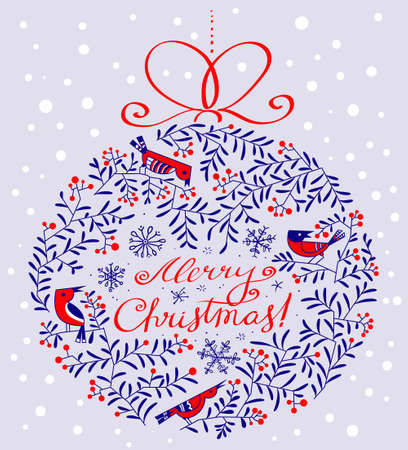 berry: Silhouette of decoration ball with birds and plants in doodle style. Merry Christmas hand drawn calligraphic lettering. Design element for seasonal cards, stickers and posters