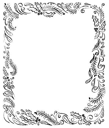 Hand drawn border frame with winter objects. Ink artistic illustration with pine tree branches, swirls, abstract decorative elements and holly. Minimalistic black and white vector for place for your text