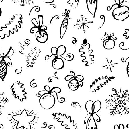 winter colors: Hand drawn winter seamless pattern with abstract swirl elements, holly, pine tree branches, decoration balls with bows and snowflakes  in line art ink doodle style with black and white colors Illustration