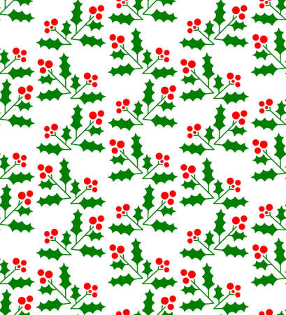 winter colors: Christmas geometric seamless pattern with winter berries - holly plant. Minimalistic ornament for seasonal backgrounds, textures and wrapping paper, vector illustration in green, red, white colors Illustration