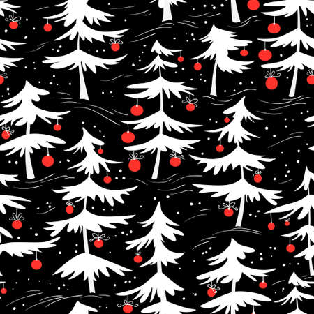 trees seasonal: Cute winter seamless pattern  with Christmas tree in cartoon style. Many white pine trees with red decoration balls. Design element for seasonal posters, backgrounds and textile