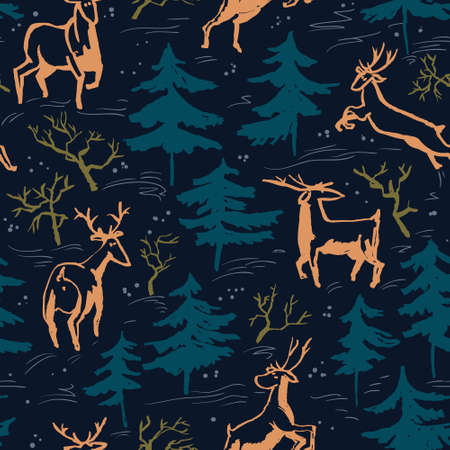 artistic: Hand drawn winter seamless pattern with deer and pine trees in doodle incomplete style. Artistic illustration. Design element for christmas wrapping paper, cards and posters Illustration