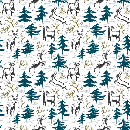 christmas paper: Hand drawn winter seamless pattern with deer and pine trees in doodle incomplete style. Artistic illustration. Design element for christmas wrapping paper, cards and posters Illustration
